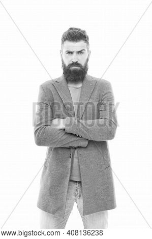 Fashionable Inspiration. Hipster With Fashionable Mustache And Beard Style Keeping Arms Crossed. Bea