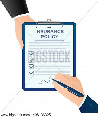 Flat Style Illustration With Insurance Policy For Report Design. Isometric Vector Illustration. Busi