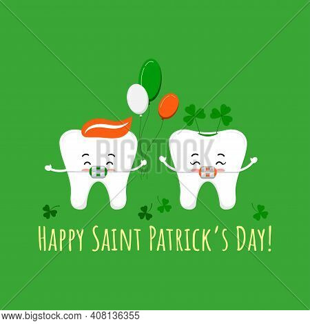 St Patrick Day Tooth With Braces On Dentist Greeting Card. Dental Teeth Irish Character With Lucky S