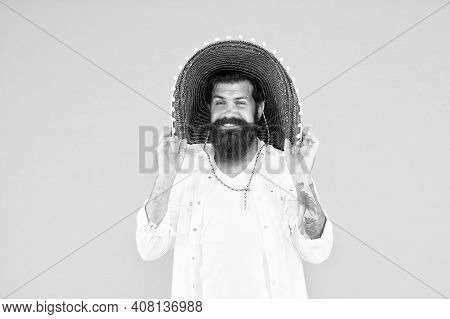 National Holidays. Mexican Hat Sombrero. Guy Happy Festive Outfit. Spanish Costume. Mexican Celebrat