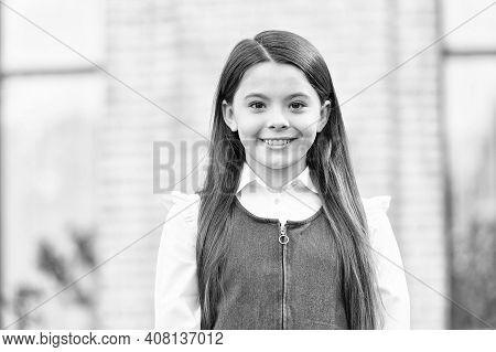 Give Big Cheer For New School Year. Happy Schoolgirl Outdoors. Little Schoolgirl Back To School. Sma