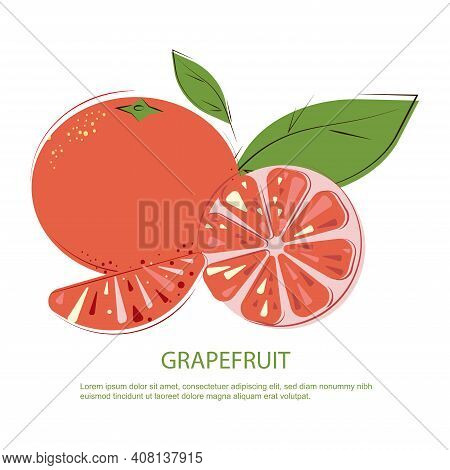Grapefruit Slices And Whole Pink Grapefruits. Pink Grapefruit. Juicy Grapefruit With Green Leafs.