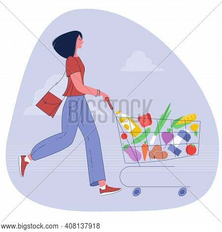Young Woman Pushing Supermarket Shopping Cart Full Of Groceries Cart Enjoying With Happy Shopping. F