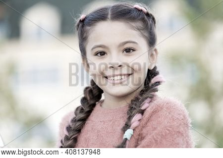 Beauty Is The Smile Of A Child. Beauty Look Of Adorable Small Girl Outdoor. Little Child With Cute S