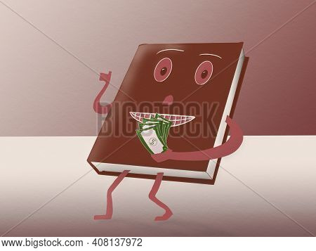 Cartoon Style Drawing Of A Book Character Handing Over Money For Investment In Knowledge
