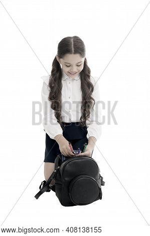 Carrying Things In Backpack. Getting Ready. Fit Backpack Correctly. Girl Little Fashionable Cutie Ca