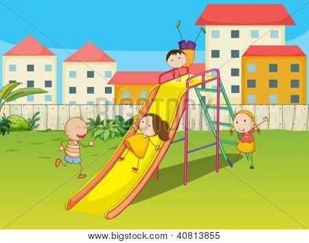 Illustration of kids playing on a slide in a beautiful nature
