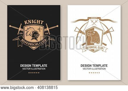 Knight Historical Club Flyer, Brochure, Banner, Poster. Vector. Concept For Shirt, Print, Stamp, Ove