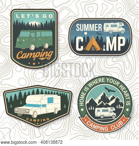 Set Of Summer Camp Patches. Vector. Concept For Shirt Or Logo, Print, Stamp, Patch Or Tee. Vintage T