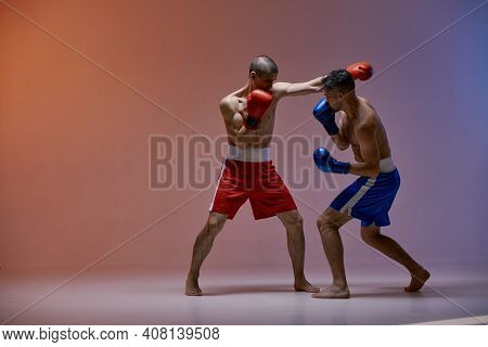 Sparring Of Fighting Males Boxers Punching During Battle On Red Blue Studio Backdrop, Martial Arts,