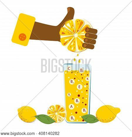 Hand Is Squeezing Out The Vitamin Lemon Juice In A Glass. Ripe Juice Lemons Are On The Table.