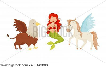 Mermaid And Winged Horse Pegasus As Mythological And Fairy Creature Vector Set