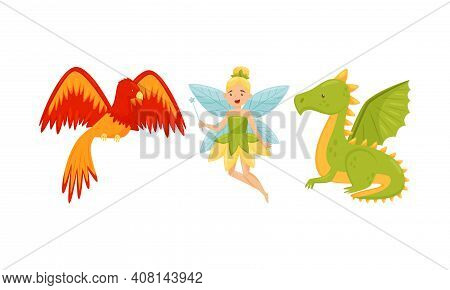 Fluttering Pixie And Phoenix Bird As Mythological And Fairy Creature Vector Set