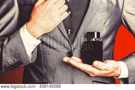 Fragrance Smell. Male Fragrance, Perfumery, Cosmetics. Smell Perfume. Expensive Suit. Rich Man Prefe