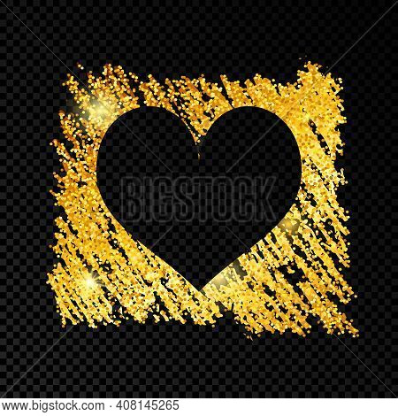 Heart On Golden Glittering Scribble Paint On Dark Transparent Background. Background With Gold Spark
