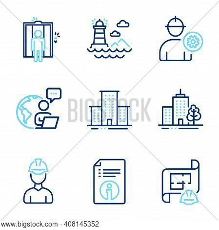 Industrial Icons Set. Included Icon As Foreman, Elevator, Technical Info Signs. Lighthouse, Engineer