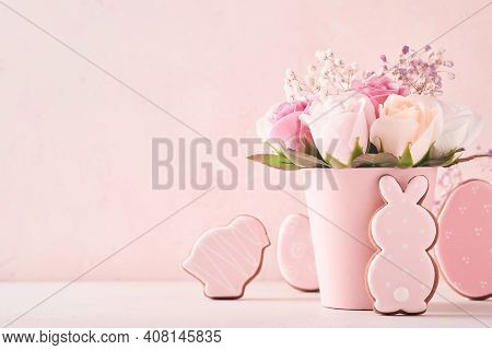 Easter Background Decoration With Beautiful Bouquet Pink Roses Flowers In Vase, Easter Eggs, Bunny A