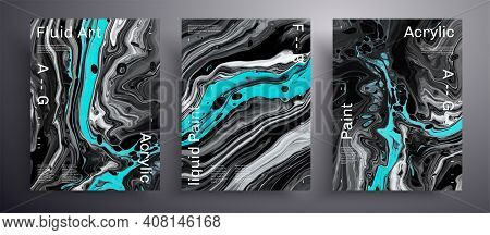 Abstract Vector Banner, Texture Pack Of Fluid Art Covers. Trendy Background That Applicable For Desi