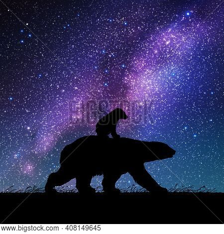 Bears Family At Night. Animal Silhouettes. Starry Sky And Milky Way