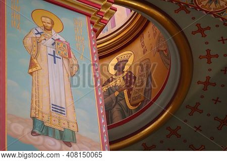 A Painting Of A Dome In The Cathedral Of Christ The Savior In Kaliningrad, Russia. The Photo Was Tak
