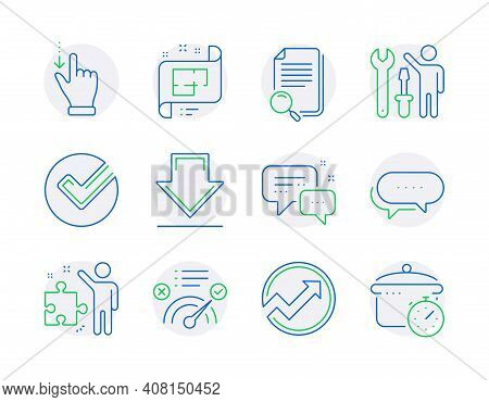 Technology Icons Set. Included Icon As Architectural Plan, Search File, Strategy Signs. Verify, Corr