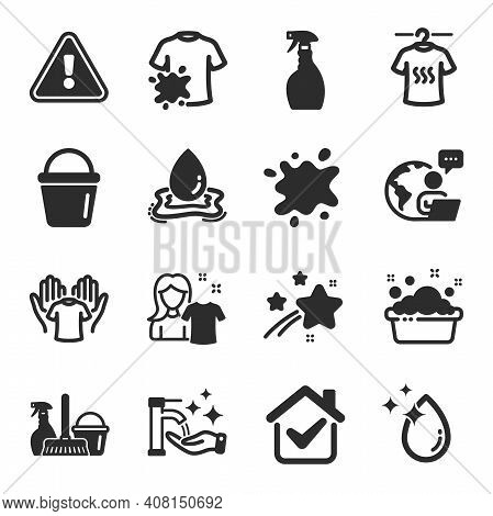 Set Of Cleaning Icons, Such As Dirty T-shirt, Clean Shirt, Bucket Symbols. Water Drop, Dry T-shirt,