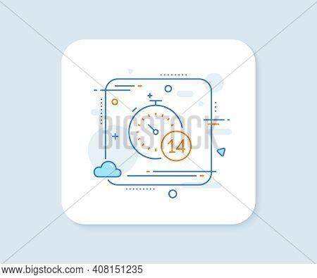 Quarantine Timer Line Icon. Abstract Square Vector Button. Coronavirus Incubation Period Sign. Self-