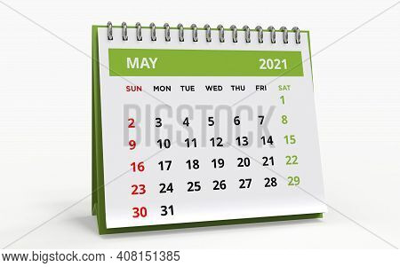 Standing Desk Calendar May 2021. Business Monthly Calendar With Metal Spiral Bound, The Week Starts