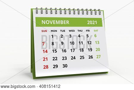 Standing Desk Calendar November 2021. Business Monthly Calendar With Metal Spiral Bound, The Week St