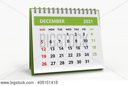 Standing Desk Calendar December 2021. Business Monthly Calendar With Metal Spiral Bound, The Week St