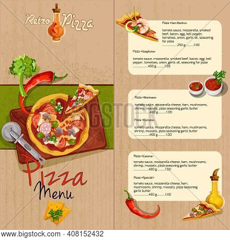 Pizzeria Pizza Restaurant Menu Template With Ingredients Oil And Seasoning Vector Illustration.