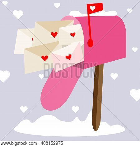 Mailbox With Love Letters. Valentines In Envelopes By Mail.