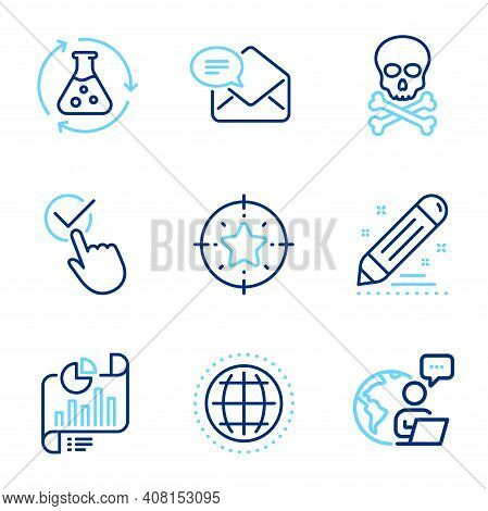 Education Icons Set. Included Icon As New Mail, Globe, Chemical Hazard Signs. Chemistry Experiment,