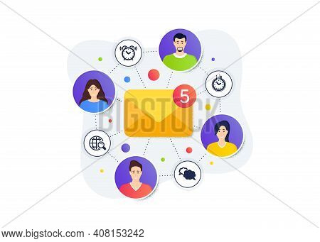 Alarm Clock, Internet Search And Time Icons Simple Set. Teamwork Messages Banner. Employee Remote Wo