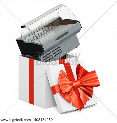 Refrigerated Display Case, Showcase Inside Gift Box, Present Concept. 3d Rendering Isolated On White