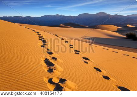 The picturesque chains of footprints in the sand dunes. Mesquite Flat Sand Dunes, California. USA. Orange sunset in the desert. Concept of active, ecological and photo tourism