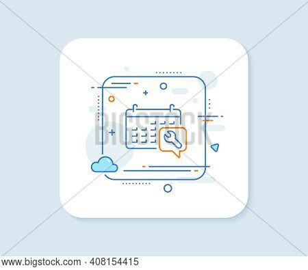 Spanner Tool Line Icon. Abstract Square Vector Button. Repair Service Calendar Sign. Fix Instruments