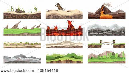 Collection Game Landscapes. Cartoon Design Nature. Landscape Of Soil Sections. Illustration Of Cross