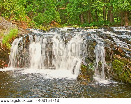 Waterfall Of The Falls River Near L'anse In Northwoods Michigan