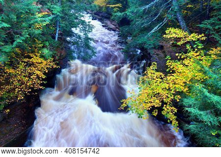 River Rapids On The Presque Isle River At Porcupine Mountains State Park In Michigan