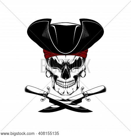 Vector Image Of A Pirate Skull. Pirate With Knives.