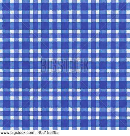 Blue White Vintage Checkered Background With Blur, Gradient And Texture Grunge. Classic Checkered Ge