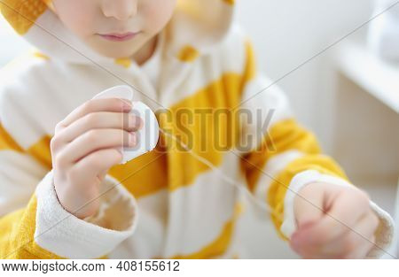 Preschooler Boy Cleaned Teeth With Dental Floss And Then Is Brushing His Teeth With Toothbrush Caref