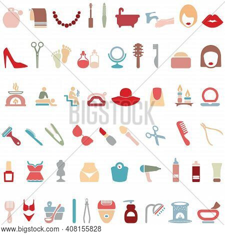 Woman's Things Set. Girl Accessories Icons Collection Of Shoes, Jewelry, Perfume, Cosmetics, Mirror,