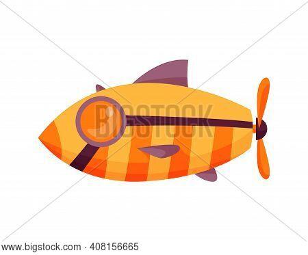 Submarine Undersea. Fish Design. Cute Cartoon Yellow Submarine. Bathyscaphe Underwater Ship. Diving