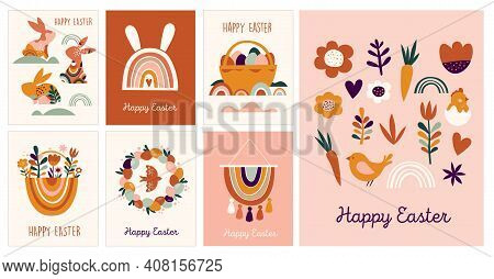 Boho Easter Concept Design, Greeting Cards With Bunnies, Eggs, Flowers And Rainbows In Pastel And Te