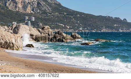 Laspi Bay And View Of Mount Ilyas-kaya Crimea October 07, 2018. Bright Sunny Cloudless Day. View Of