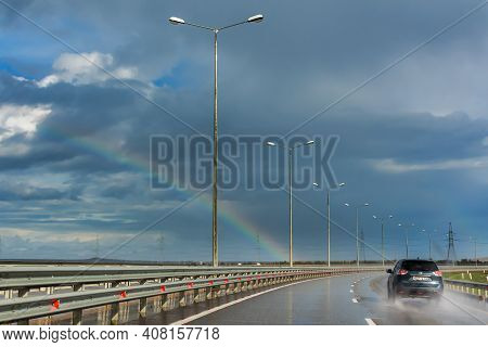 The Built Tavrida Highway In The Crimea On November 03, 2020. Traffic On A Wide Highway. Cloudy Autu