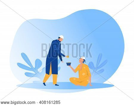 Muslim Man Donation Zakat To Poor Poor People With Eid Mubarak  Day Illustration