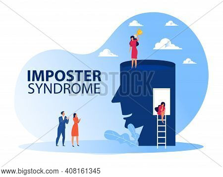 Imposter Syndrome.woman Standing For Her Present Profile With Get Award. Anxiety And Lack Of Self Co